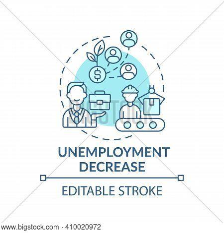 Unemployment Decrease Concept Icon. Decline In Unemployment Rate Idea Thin Line Illustration. Econom