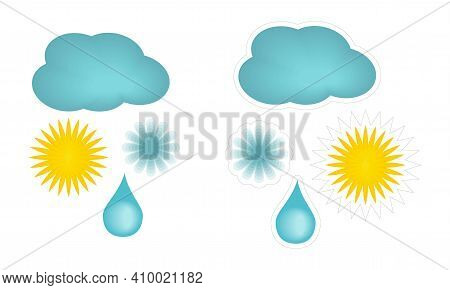Set Of Vector Cartoon Stickers With Weather Elements. Simple Flat Cliparts Of Yellow Sun, Blue Cloud