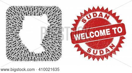 Vector Collage Sudan Map Of Movement Arrows And Rubber Welcome Seal. Mosaic Geographic Sudan Map Cre