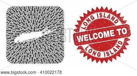Vector Collage Long Island Map Of Navigation Arrows And Grunge Welcome Seal. Collage Geographic Long