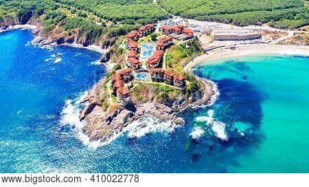 Sveti Toma, Bulgaria. Aerial Panoramic View Of Picturesque Black Sea Coastline With Arkutino Natural