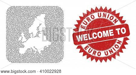 Vector Collage Euro Union Map Of Pointer Arrows And Rubber Welcome Seal Stamp. Collage Geographic Eu