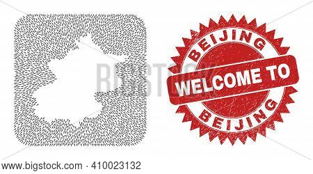 Vector Collage Beijing City Map Of Pointer Arrows And Rubber Welcome Stamp. Collage Geographic Beiji