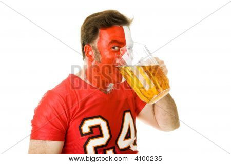 Beer Guzzling Sports Fan