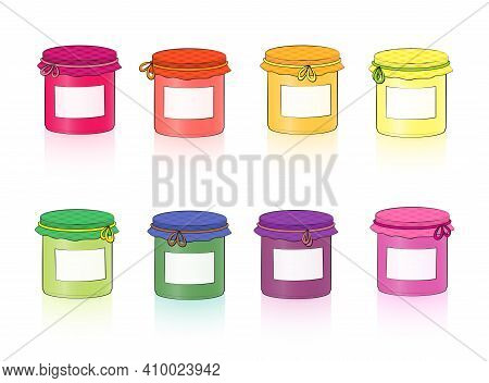 Jars With Blank Labels. Colorful Set Of Canning Jars For Fruits, Jam And Vegetables In Screw Glasses