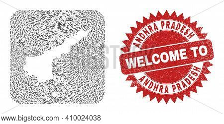 Vector Mosaic Andhra Pradesh State Map Of Motion Arrows And Rubber Welcome Badge. Mosaic Geographic