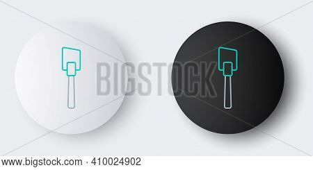 Line Spatula Icon Isolated On Grey Background. Kitchen Spatula Icon. Bbq Spatula Sign. Barbecue And