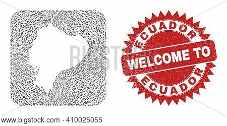 Vector Collage Ecuador Map Of Motion Arrows And Rubber Welcome Seal. Collage Geographic Ecuador Map