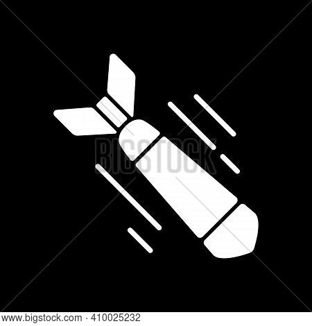 War Movie Dark Mode Glyph Icon. Military Films, Serious Historical Dramas. Television Entertainment