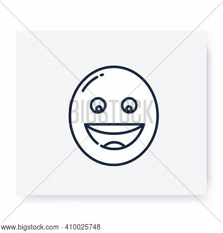Grinning Face Line Icon. Smiled Face, Emoticon With Open Smile. Facial Expression Emoji. Isolated Ve