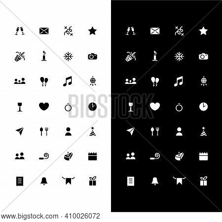 Holiday Events Glyph Icons Set For Night And Day Mode. Party Calendar. Birthday, Wedding Date. Mobil