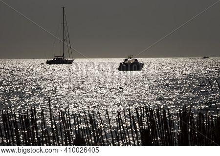 Es Trenc, Majorca / Spain - August 25, 2016: Es Trenc Sea Landscape, Colonia De Sant Jordi, Mallorca