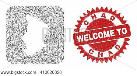 Vector Collage Chad Map Of Motion Arrows And Rubber Welcome Seal. Collage Geographic Chad Map Design