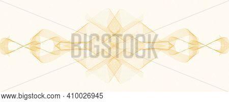 Golden Watermark Ornament, Vignette. Symmetric Guilloche Pattern, Zigzag, Wavy Lines. Squiggle Curve