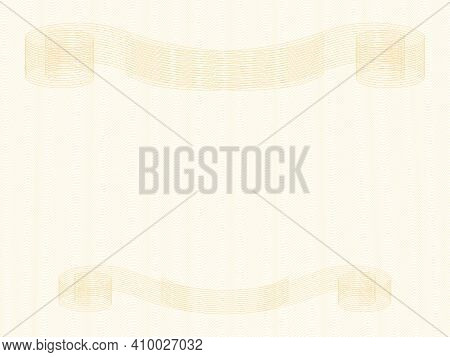 Diploma, Certificate Template With Gold Vintage Vignettes. Zigzag Pattern. Elegant Ornament, Curled
