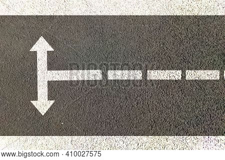 Two Way Direction After Rotation Painted On Road, Right Way Choise Confusion Concept