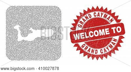 Vector Mosaic Grand Cayman Island Map Of Movement Arrows And Rubber Welcome Stamp. Mosaic Geographic