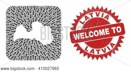 Vector Collage Latvia Map Of Pointer Arrows And Scratched Welcome Stamp. Mosaic Geographic Latvia Ma