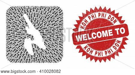 Vector Collage Koh Phi Don Map Of Delivery Arrows And Grunge Welcome Seal Stamp. Collage Geographic