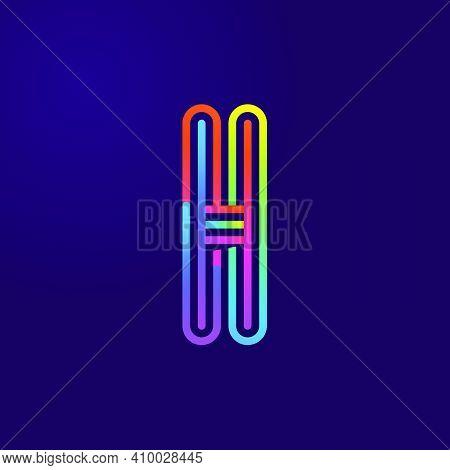Neon Light H Letter Line Logo. Colored Tube Font For Events Posters, Lacing Emblem, Nightlife Banner