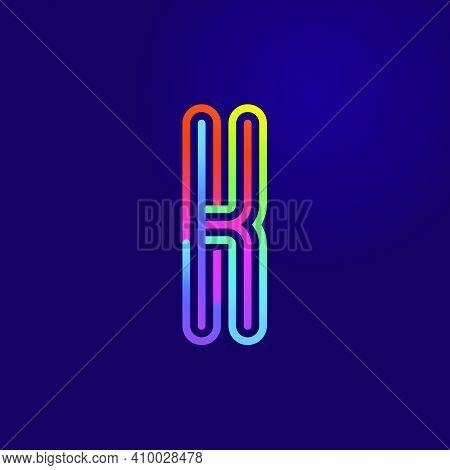 Neon Light K Letter Line Logo. Colored Tube Font For Events Posters, Lacing Emblem, Nightlife Banner