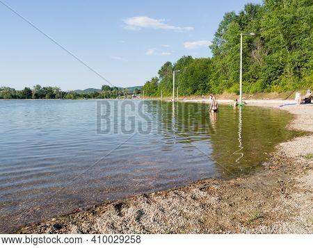 Bosnia And Herzegovina - June 27, 2020: The Artificial Lake Manjača On The Plateau Manjača Near Banj