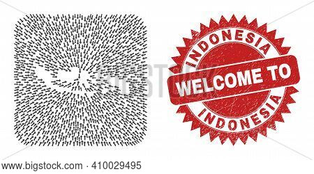 Vector Collage Indonesia Map Of Movement Arrows And Grunge Welcome Seal Stamp. Collage Geographic In