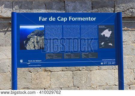 Cabo Formentor, Majorca / Spain - August 25, 2016: Cabo Formentor Sign, Mallorca, Balearic Islands,
