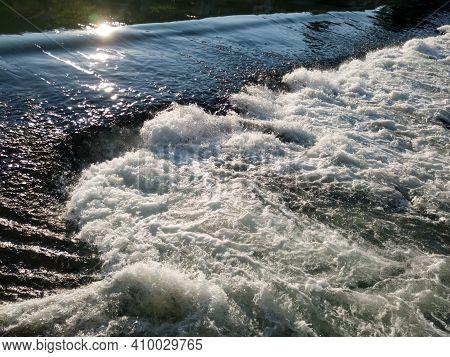 Waterfall On The Word Vrbas In Novoselija, Near Banja Luka. Sparkling Turbulent Water.