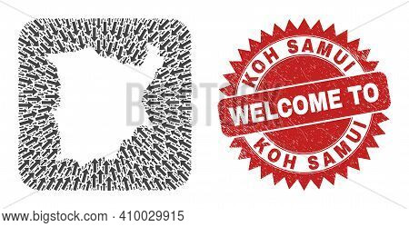 Vector Collage Koh Samui Map Of Straight Arrows And Rubber Welcome Seal. Collage Geographic Koh Samu