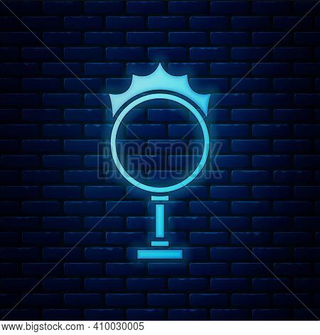 Glowing Neon Circus Fire Hoop Icon Isolated On Brick Wall Background. Ring Of Fire Flame. Round Fier