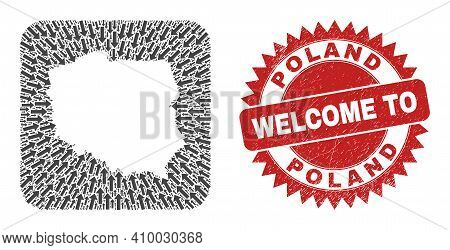 Vector Collage Poland Map Of Pointer Arrows And Rubber Welcome Stamp. Collage Geographic Poland Map
