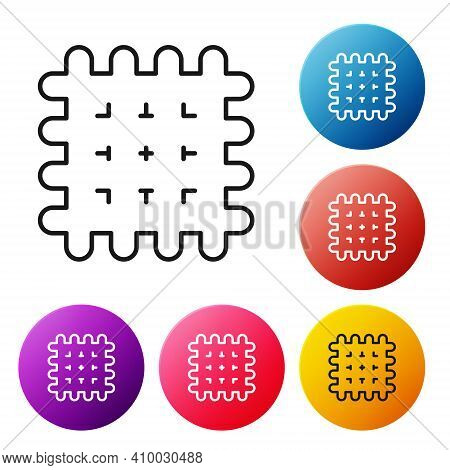 Black Line Cracker Biscuit Icon Isolated On White Background. Sweet Cookie. Set Icons Colorful Circl