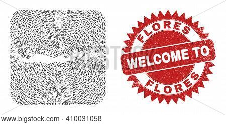 Vector Collage Flores Islands Of Indonesia Map Of Direction Arrows And Rubber Welcome Seal Stamp.