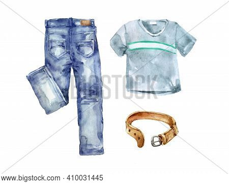 A Set Of Youth Clothing, Jeans Wear, Summer Fashion Collection, Trousers With A T-shirt And A Leathe