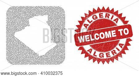 Vector Mosaic Algeria Map Of Pointer Arrows And Grunge Welcome Stamp. Mosaic Geographic Algeria Map