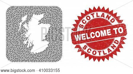 Vector Collage Scotland Map Of Pointing Arrows And Scratched Welcome Seal Stamp. Collage Geographic