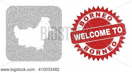 Vector Collage Borneo Map Of Delivery Arrows And Rubber Welcome Seal. Collage Geographic Borneo Map
