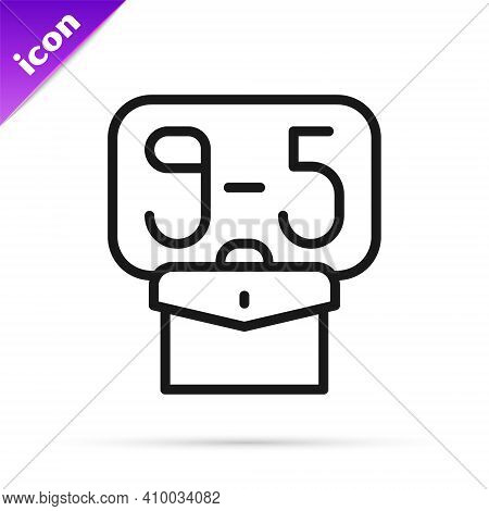 Black Line From 9:00 To 5:00 Job Icon Isolated On White Background. Concept Meaning Work Time Schedu