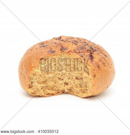 Bitten-off Burger Bun With Flax Isolated On White Background.