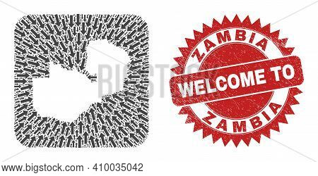 Vector Collage Zambia Map Of Immigration Arrows And Scratched Welcome Seal. Collage Geographic Zambi