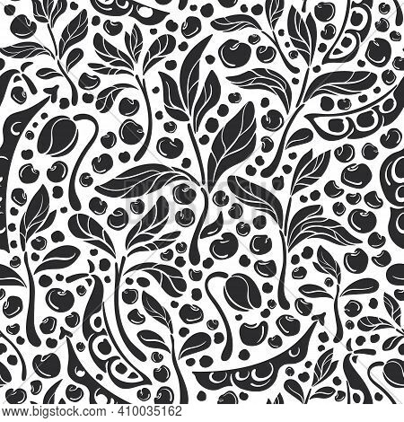 Legumes Seamless Pattern. Vector Pod, Bean, Sprout, Soy, Lentils On White Background. Natural Vegan
