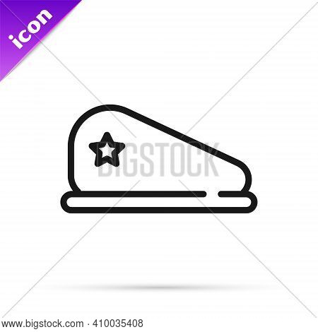 Black Line Military Beret Icon Isolated On White Background. Soldiers Cap. Army Hat. War Baret. Vect