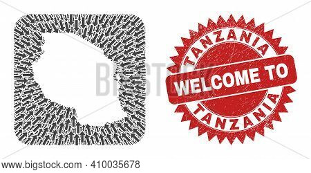 Vector Mosaic Tanzania Map Of Immigration Arrows And Rubber Welcome Badge. Mosaic Geographic Tanzani