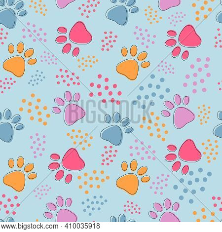 Cute Seamless Pattern With Colorful Pets Paws On Light Blue. Cat Or Dog Footprint Outline Background