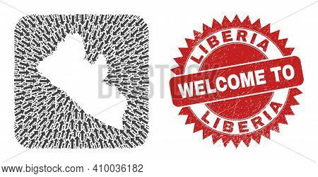 Vector Mosaic Liberia Map Of Movement Arrows And Rubber Welcome Seal. Collage Geographic Liberia Map