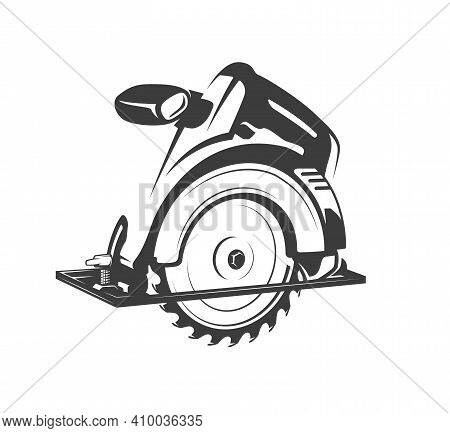Electric Saw Isolated On White Background. Carpentry Concept. Silhouette Of A Saw For Wood Processin