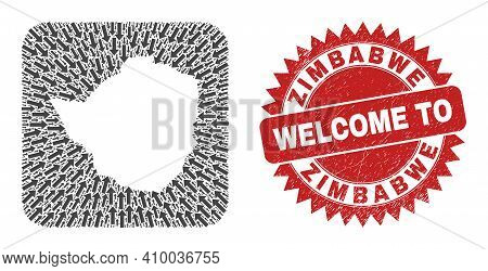 Vector Collage Zimbabwe Map Of Navigation Arrows And Scratched Welcome Seal. Collage Geographic Zimb