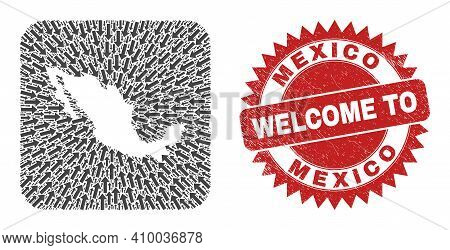 Vector Mosaic Mexico Map Of Moving Arrows And Scratched Welcome Badge. Mosaic Geographic Mexico Map