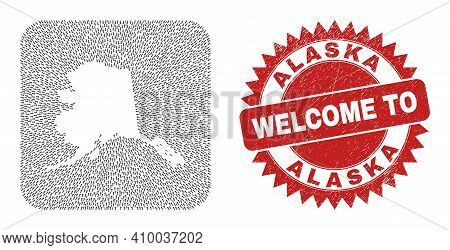 Vector Mosaic Alaska Map Of Straight Arrows And Rubber Welcome Badge. Collage Geographic Alaska Map